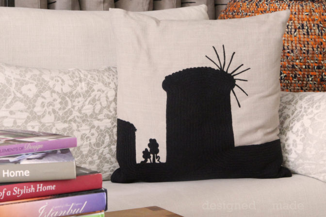 embroidered windmill pillow